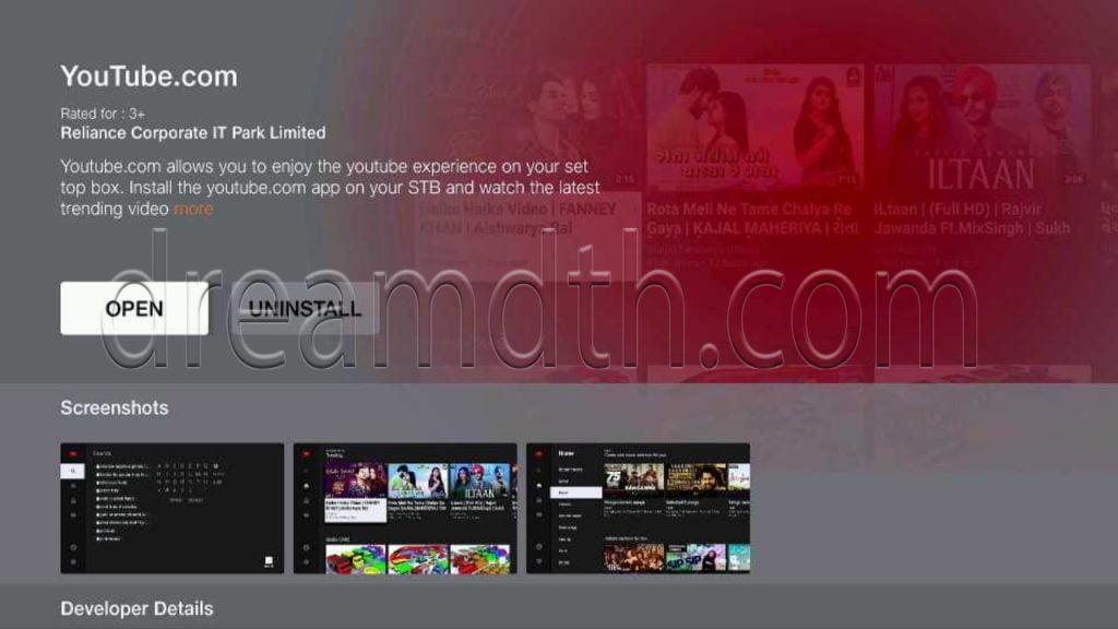 Jio IPTV STB interface
