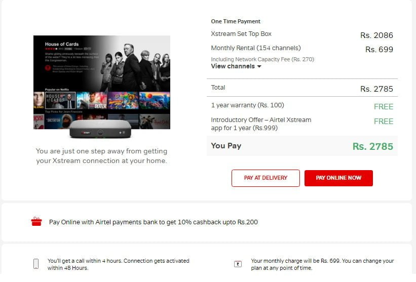 Airtel Xstream Box available at Rs 1750 discount to new customers in Delhi NCR for limited period