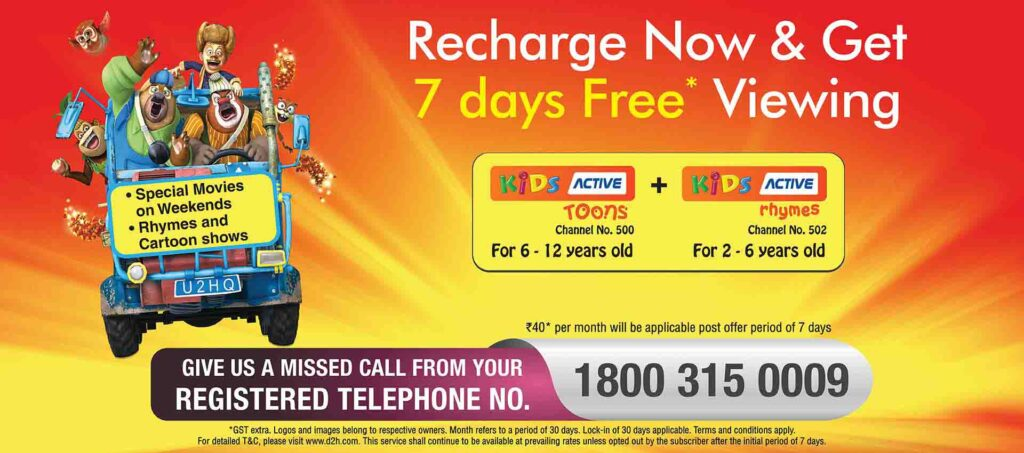 d2h offering Kids Active free for 7 days on recharging before 25th December
