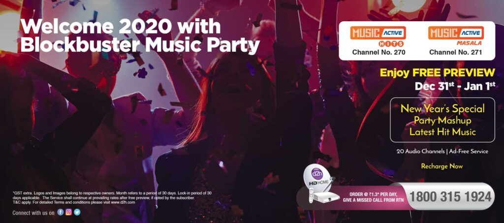 d2h offering Music Active Free Preview on New Year
