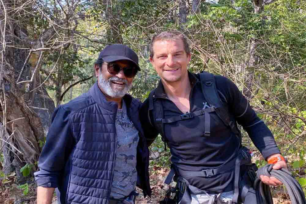 Rajinikanth with Bear Grylls shooting for the show Into The Wild with Bear Grylls