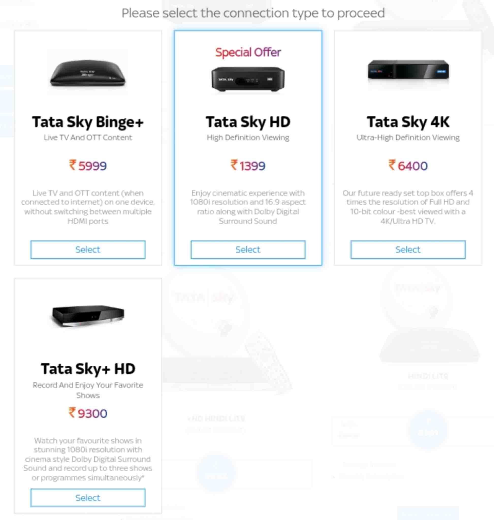 Tata sky sd box removed