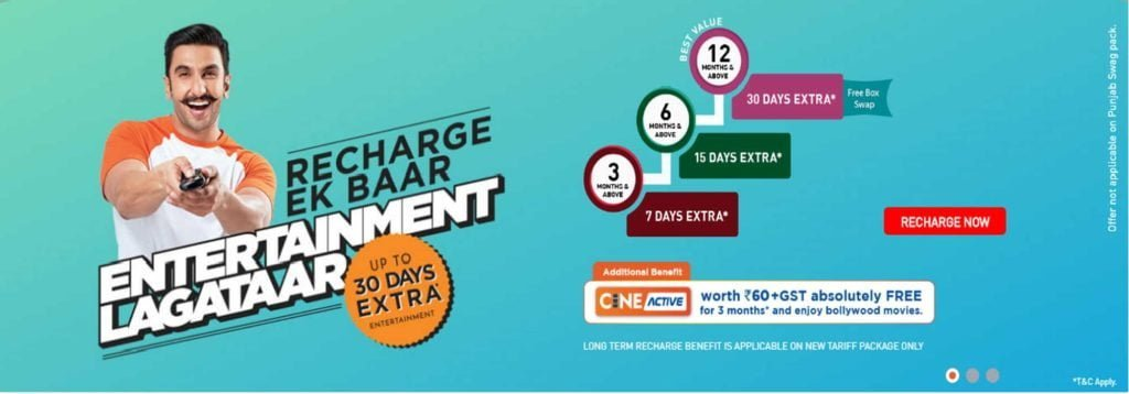 Dish TV now offering free Cine Active service on long term recharges