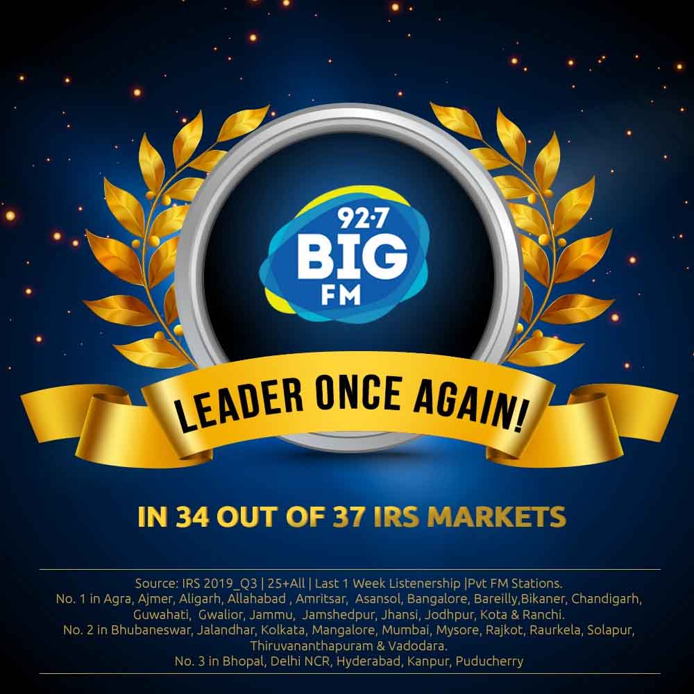 Big FM retains leadership in 35 out of 44 Markets as per India Readership Survey 2019 Q4