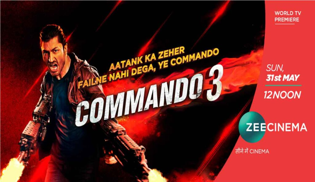 Get into the action mode with the World TV Premiere of Vidyut Jammwal's Commando 3 on Zee Cinema