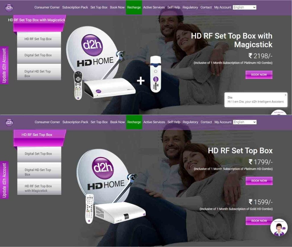 D2h HD RF STB+Magicstick combo to cost Rs 2198; HD RF STB to be available at Rs 1599 and Rs 1799