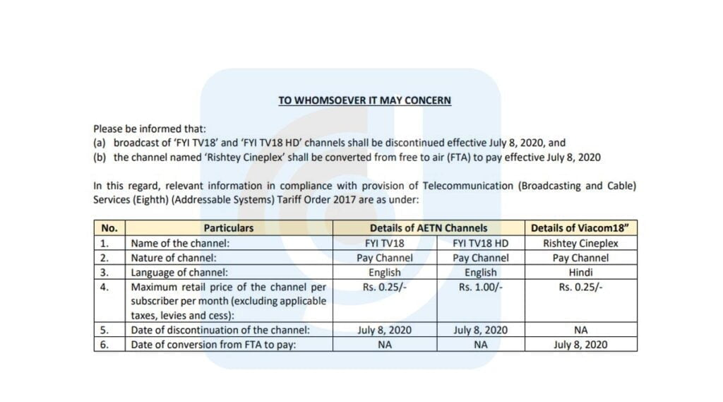 FYI TV18 and FYI TV18 HD to shutdown on 8th July