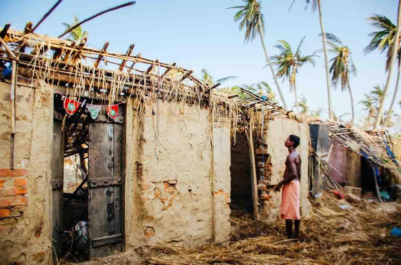 Damaged house by cyclone Fani