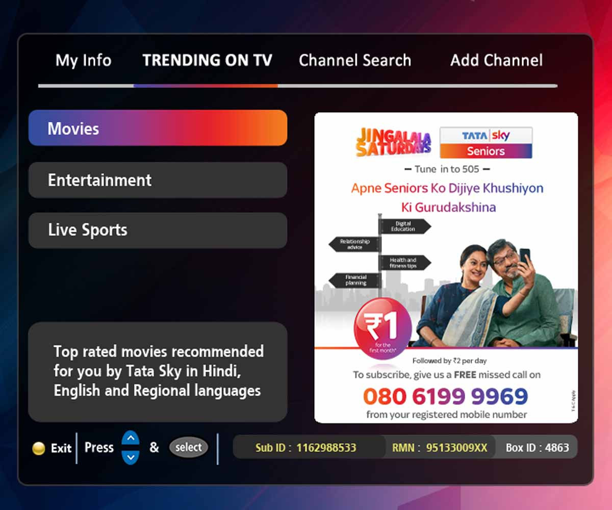 Tata Sky makes TV content discovery easier with redesigned Home Screen