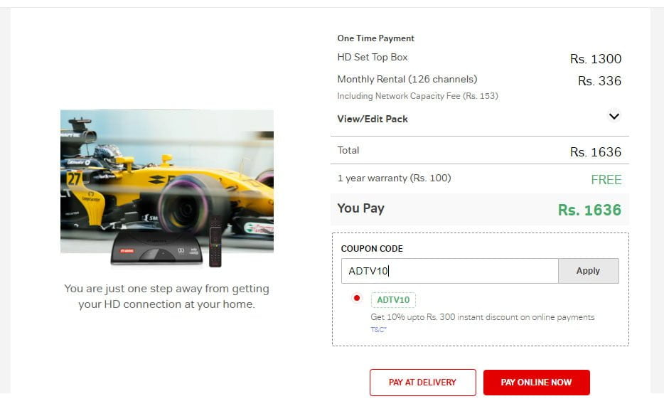10% off on new Airtel Digital TV connections paid online; massive discounts on opting for 6 or 12 month pack