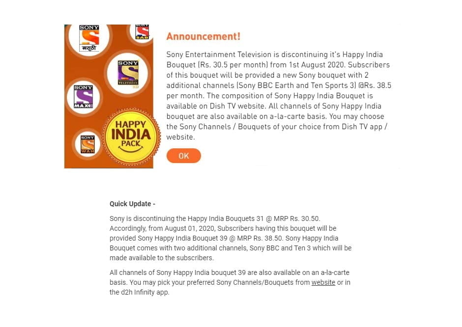 Dish TV and D2H to bump up customers on Happy India 30.5 to Happy India 38.5