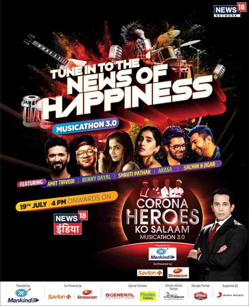 News18 India to air third edition of 'Corona Heroes ko Salaam – Musicathon 3.0' this Sunday