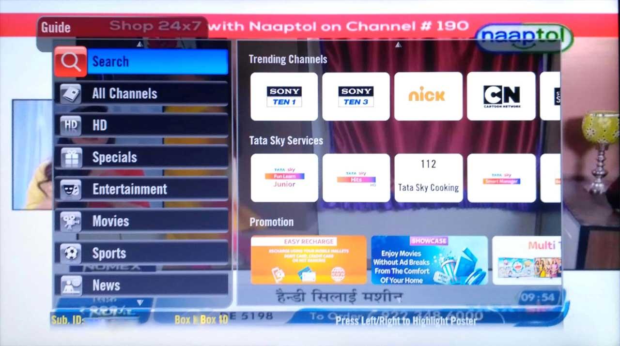 Tata Sky Guide Menu