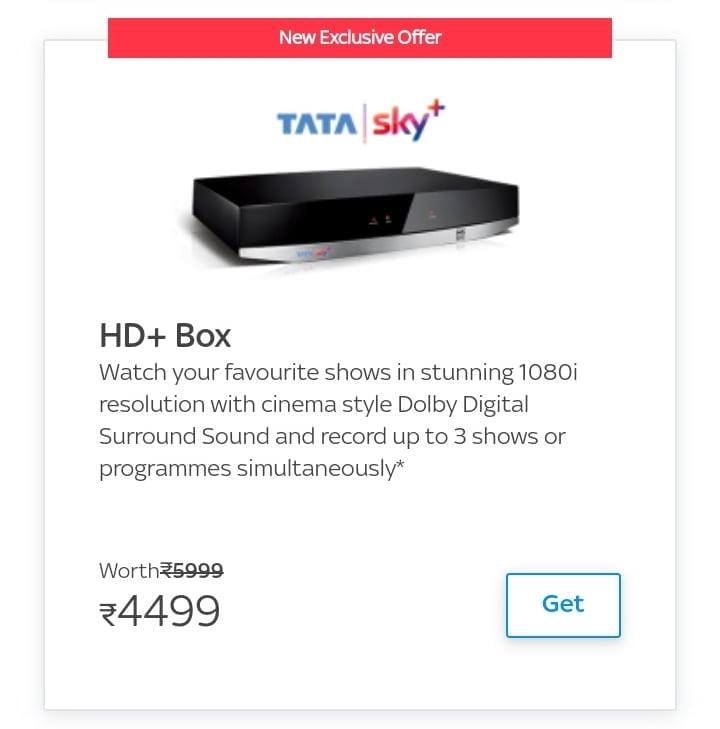 Tata Sky HD upgrade price drop