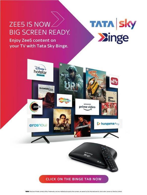 ZEE5 content now integrated within Binge tab on Tata Sky Binge