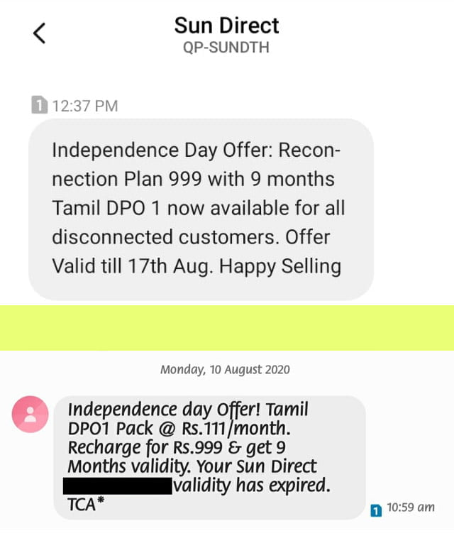 Sun Direct offers Tamil DPO 1 at Rs 999 for 9 months to inactive customers as Independence Day Offer