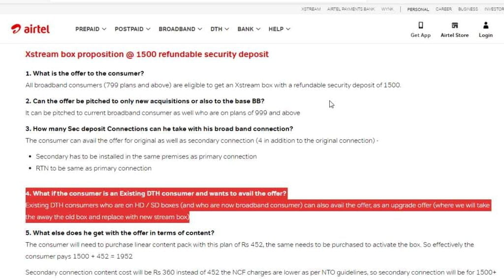 Select Airtel Digital TV customers can now upgrade to Xstream STB at Rs 1500 refundable security deposit