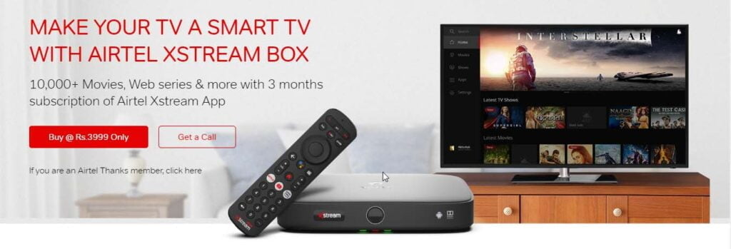 New Airtel Xstream Box connections now only offering Airtel Xstream App subscription as Introductory Offer
