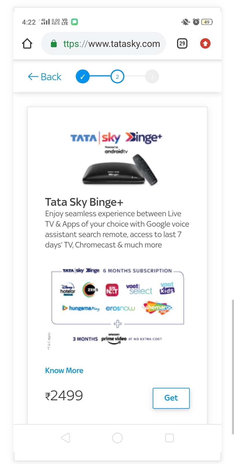 Tata Sky Binge Upgrade Rs 2499