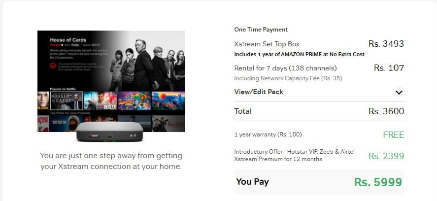Disney+ Hotstar VIP, ZEE5, and Xstream Premium for 1 year now available at Rs 1699 with new Airtel Xstream STB