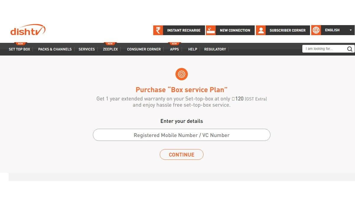 Dish TV Box Service Plan Rs 120