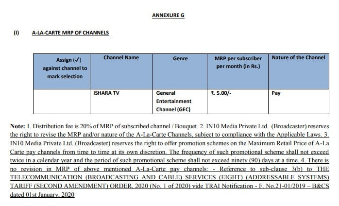 IN10 Media prices Ishara TV at Rs 5 on a-la-carte basis in a separate NTO 2.0 RIO
