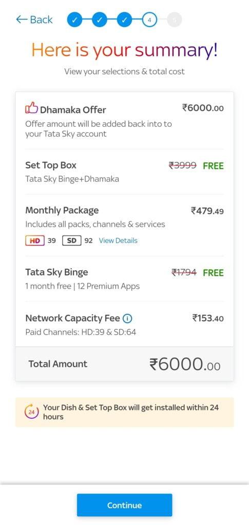 Tata Sky Dhamaka checkout page 2